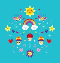butterflies rainbow flowers mushrooms hearts vector image vector image