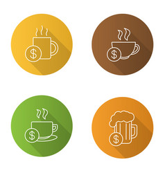 Buy drinks flat linear long shadow icons set vector