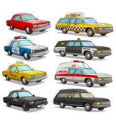 Cartoon colorful american old retro different cars vector