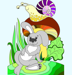 Childrens color cartoon animal friends in nature vector