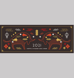 chinese new year 2021 year ox vector image
