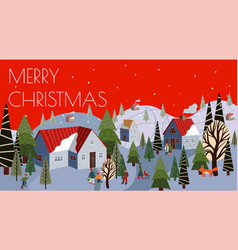 christmas greeting card with winter mountain vector image