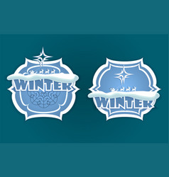 Christmas sign of blue hue with winter text vector