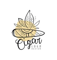 Cigar logo design emblem element for smoke shop vector