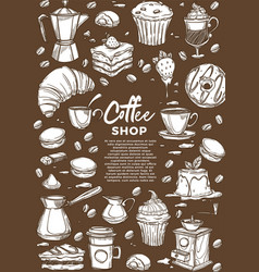 coffee shop hot drinks and desserts cafe sketch vector image