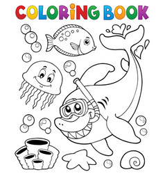 Coloring book with shark snorkel diver vector