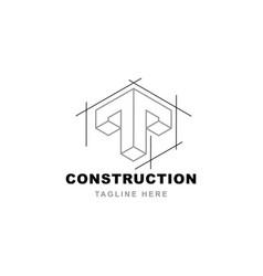 construction logo with letter t shape templ vector image