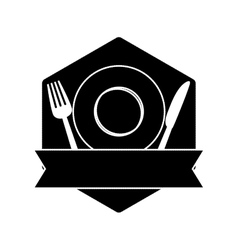 contour table with plate fork and knife vector image