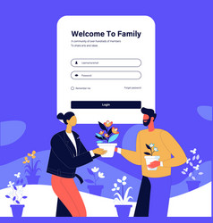 Couple plant gifting login page design vector
