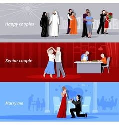 Couples People Flat Banners vector