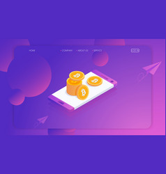 cryptocurrency bitcoin and blockchain with vector image
