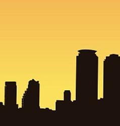 Dark contour Bangkok on a yellow background vector image