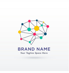 digital brain concept design logo vector image