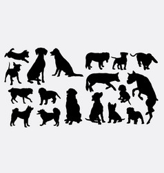 dog action animal silhouette vector image