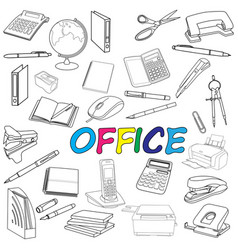 doodle office elements vector image