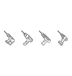 drilling machine icons set outline style vector image