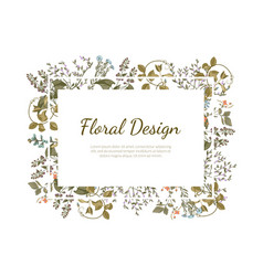 elegant floral design rectangular frame with place vector image