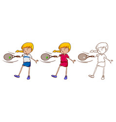 Female tennis player in three different drawing vector