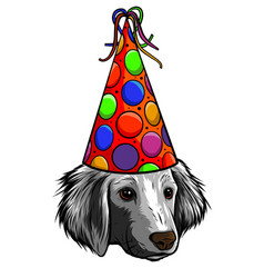 festive poster puppy beagle in a party hat vector image