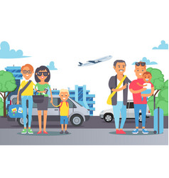 flat people family at weekend car trip vector image