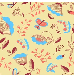 floral seamless pattern with bugs and butterfly vector image