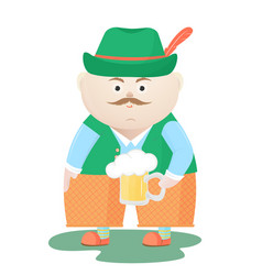 funny oktoberfest man in a hat with a mug of beer vector image