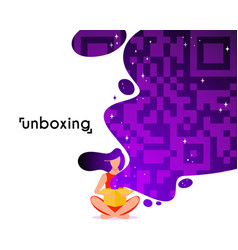 girl open box in flat style cartoon character vector image