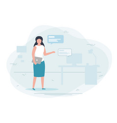 Girl working at home chat concept vector