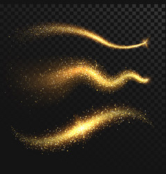Golden glittering dust tails shimmering gold vector