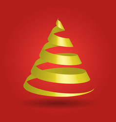 golden glossy ribbon in a shape of christmas tree vector image
