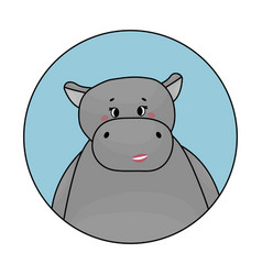 gray female hippo is smiling cheeks are red vector image