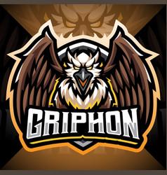 Gryphon esport mascot logo design vector