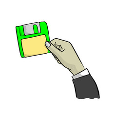 hand of businessman holding green diskette vector image
