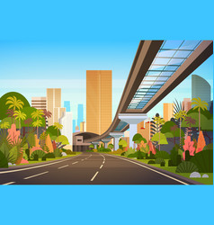 Highway road to city skyline with modern vector