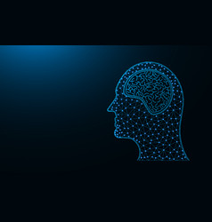 human head and brain low poly icon organ vector image