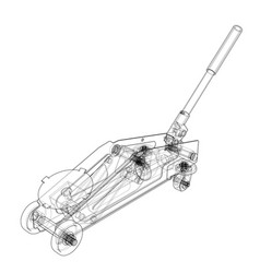 Hydraulic floor jack outline vector
