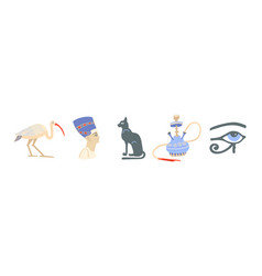 icons set egyptian symbols - ibis nefertiti vector image