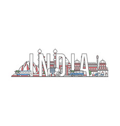 india travel lettering in linear style vector image
