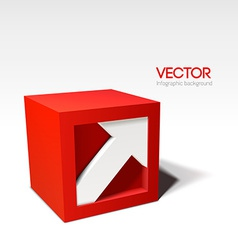 Infographic red 3D cube with arrow vector
