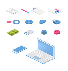 isometric flat icon set 3d colorful vector image