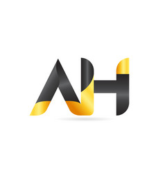joined or connected ah a h yellow black alphabet vector image