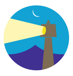 lighthouse building in the night vector image