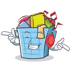 listening music laundry basket character cartoon vector image