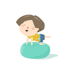 Little smiling boy on a pilates ball vector