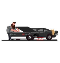Man fixing a car vector