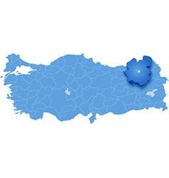 Map of Turkey Erzurum vector