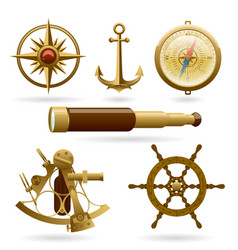 marine navigation icon set isolated on vector image