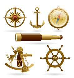 Marine navigation icon set isolated vector