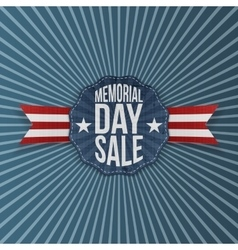 Memorial Day Sale greeting Emblem with Ribbon vector image