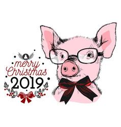 merry christmas 2019 greeting invitation card vector image